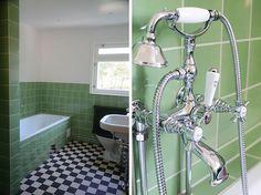 modern retro home decor Retro Campers, Retro Ideas, Retro Home Decor, Modern Retro, Shades Of Green, 50 Shades, Small Bathroom, Bathroom Ideas, Bathrooms