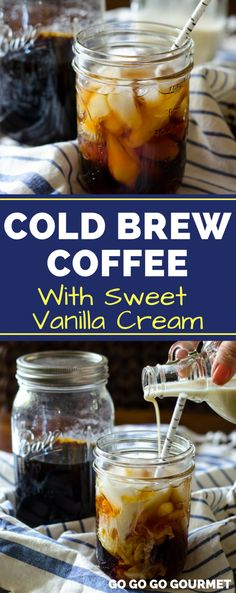you've ever wondered how to make cold brew coffee, look no further! This Cold Brew Coffee recipe even rivals the Pioneer Woman! It's easy, and the coffee concentrate tastes even better when mixed with sweet vanilla cream! Homemade Cold Brew Coffee, Making Cold Brew Coffee, Cold Coffee Drinks, Cold Brew Iced Coffee, Cold Brew Coffee Recipe Starbucks, Tea Drinks, Starbucks Drinks, Alcoholic Drinks, The Pioneer Woman