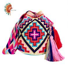 Crochet Mandala, Tapestry Crochet, Tribal Patterns, Crochet Patterns, Korn, Poufs, Knitted Bags, Boho Gypsy, Handmade Bags