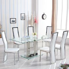 Venice Dining Table In Clear Glass With 6 Collete White Chairs