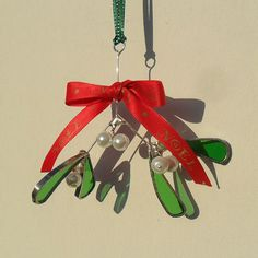 Stained Glass Mistletoe Christmas Tree Decoration £12.00 by Raven's Stained Glass on Folksy