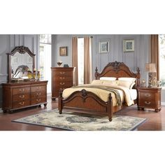 Home Source Bedroom Furniture Bed/Dresser/Mirror/Nightstand