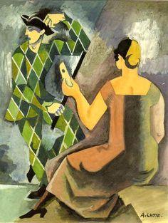 """André Lhote -     """"Hommage à  Watteau - Arlequin Demasque"""".    Gouache on Paper.    France , c.1918"""
