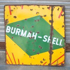 Antique Rare 2 Sided Burmah Shell Gas Porcelain Enamel Adv Sign Board