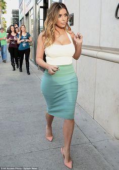 Kim Kardashian Turquoise Skirt Lovebscott 06   B. Scott   Celebrity Entertainment News, Fashion, Music and Advice
