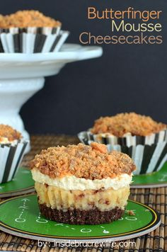 Butterfinger Mousse Cheesecake - a vanilla and peanut butter cheesecake filled with lots of Butterfinger candy