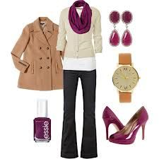 Neutral and plum outfit