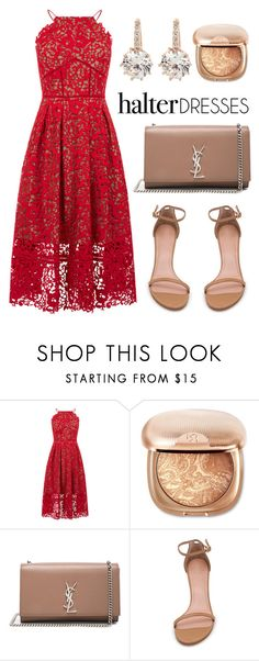 """halter dresses"" by lillyvisernglkhd ❤ liked on Polyvore featuring Warehouse, Yves Saint Laurent, Stuart Weitzman and vintage"