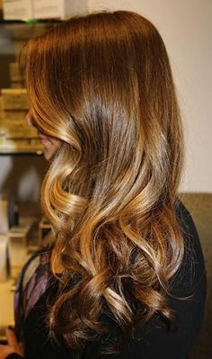 Caramel with honey blonde highlights. http://longhairstyleshowto.com/honey-highlights/