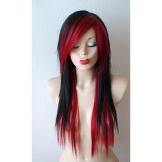 Scene wig. Black /Wine red scene hairstyle wig. Emo wig. Emo hair long... ($199) ❤ liked on Polyvore featuring beauty products, haircare, hair styling tools, hair and hairstyles