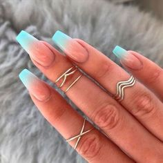 French Tip Nail Designs, Ombre Nail Designs, French Tip Nails, Acrylic Nail Designs, Nail French, French Fade, Baby Blue Nails, Pink Nails, My Nails