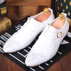 Men White Leather Fashion Lace Up Wedding Prom Dress Oxfords Shoes SKU-1100036
