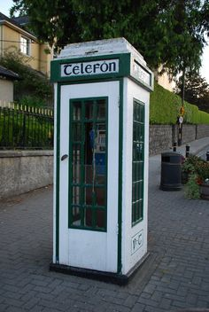 Phone booth in downtown Enniskerry, Ireland .I photographed this very booth 3 weeks ago! Telephone Booth, Vintage Telephone, Vintage Phones, Emerald Isle, Phone Photography, Ireland Travel, Beautiful Islands, Great Britain, Travel Photos