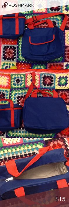 Holiday Travel Bags Two bright and clean travel bags. One over the shoulder strap carry on.  Insulated. The larger bag has a removable inside. Both are like new, and may be new for gifting. Good for the season.  Comes from a smoke free home. Enjoy your shopping day. Bags Travel Bags