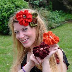 Free Crochet 3 in 1 Easy Flowers headband Pattern.