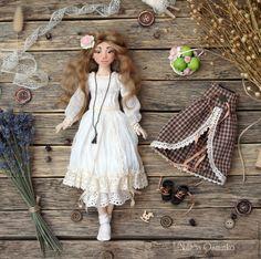 Купить Комплект одежды для текстильной куклы Ольги - серый, белый, одежда для кукол, одежда для куклы