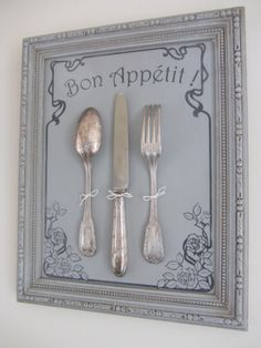 Decorative Panel in old frame Gray tone wax-based patina Retro style decorative pattern with silver cutlery For an antique kitchen decoration or for any other staging 41 x Shabby Chic Crafts, Shabby Chic Kitchen, Shabby Chic Homes, Shabby Chic Decor, Kitchen Decor, Manualidades Shabby Chic, Decoration Shabby, Diy Vintage, Silver Cutlery