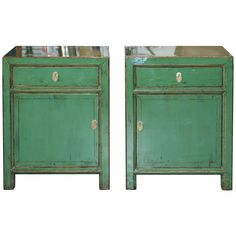 Green hand-lacquered side chest with one drawer has clean contemporary lines. Perfect for the bedroom or living room. Contact us for more info or to purchase this item today. Lacquer Furniture, Green Furniture, Art Furniture, Furniture Storage, Storage Shelves, Locker Storage, Green Dresser, Bedside Cabinet, Asian Art