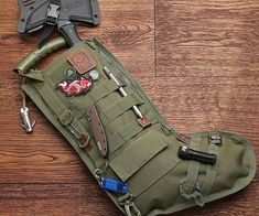 Have Santa grant all your holiday wishes by having him fill up every nook and cranny of the tactical Christmas stocking. With features like a metal clip, six strips of MOLLE, and a rack for shotgun shells, it's the ideal way for any military veteran to spread a little holiday cheer.