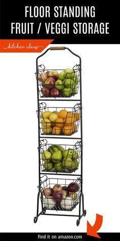 metal floor standing home storage market basket is great for storing your fruit and veggie. Organized Kitchen, Kitchen Organization, Kitchen Storage, Food Storage, Metal Floor, Metal Baskets, Pantry Labels, Market Baskets, Fruit And Veg