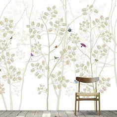 Scandinavian forest scenes with birds and birch trees. Laundry Room, Scandinavian, Bedroom Ideas, Bathrooms, Birds, Interiors, Wallpaper, Collection, Home Decor