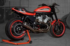 Custom Harley-Davidson Sportster XR 1200 by RRC Customizing Harley Scrambler, Sportster Cafe Racer, Harley Bobber, Cafe Racer Bikes, Harley Davidson Sportster, Custom Sportster, Custom Harleys, Custom Bikes, Chopper