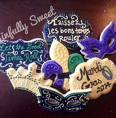 Mardi Gras masks, crowns, plaque cookies