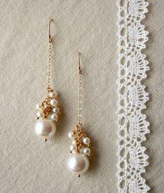 Pearl Drop Earrings, Bridal Jewelry, Wedding Earrings, Bridal Earrings Pearl, Pearl Dangle Earrings - New Ideas Pearl Earrings Wedding, Pearl Drop Earrings, Bridal Earrings, Beaded Earrings, Bridal Jewelry, Beaded Jewelry, Fine Jewelry, Handmade Jewelry, Pearl Bridal