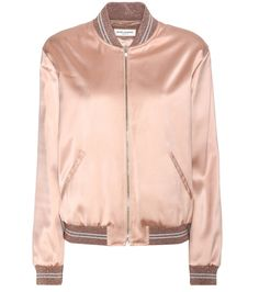 Saint Laurent - Embellished bomber jacket - Saint Laurent's blush bomber jacket is infused with retro-cool, then given a twist of the designer's signature glamorous approach with gold lamé stripes and a glossy fabrication. Finished with an embellished Love patch on the back, this piece is romantic with an edge. Style yours with dark denim on off-duty days. seen @ www.mytheresa.com