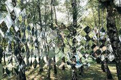 Mirage Pavilion mirror art in a Budapest forest.       Gloucestershire Resource Centre http://www.grcltd.org/scrapstore/