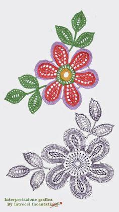 Цветы со схемами. Мотивы для Ирландского кружева