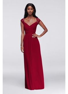 Long Mesh Dress with Lace Cap Sleeves F19505 (IN BLACK) bridesmaid dress****