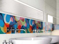 Modern Washbasin with Colorful Backsplash Tile