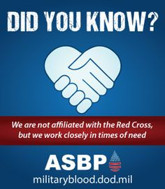 Did you know? The Armed Services Blood Program is NOT affiliated with the Red Cross. However, we do work closely together in times of need/crisis. #dyk #thefacts #militaryblood #donateblood #give2RWB #findthedrop