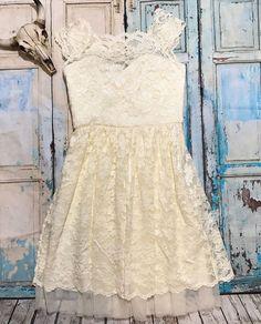 Belle Badgley Mischka Womens Sz 2 Ivory Belle Scallop Lace Dress Short Sleeve    eBay