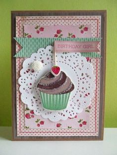 """""""Birthday girl cupcake card made with @Crate Paper Pretty Party paper and elements"""""""