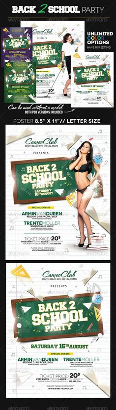 #Back to #School - #Clubs & #Parties #Events Download here: https://graphicriver.net/item/back-to-school/5336575?ref=alena994