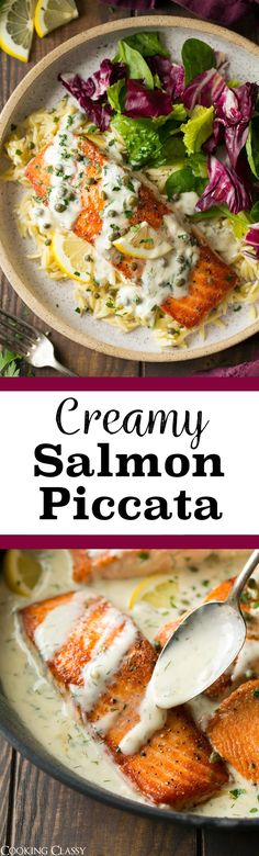 Creamy Salmon Piccata - Perfectly pan seared salmon fillets covered in a creamy, tangy lemon dill sauce and finished with salty capers. An easy and amazingly delicious salmon dish! #salmon #piccata #dinner #recipe via @cookingclassy