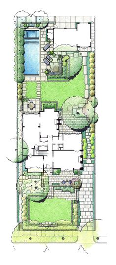 Joys of an Alley system to eliminate drives and tarmacs on your property. Much more green space to enjoy on a small parcel of land. Modern English – EPTDESIGN