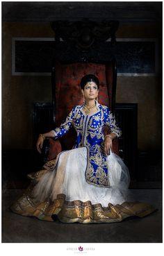 Award winning destination wedding photography Indian bride hair and makeup, bridal portrait, indian bridal lehenga, blue and white indian wedding outfit