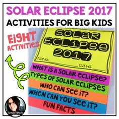 This purchase contains 8 activities for the 2017 Solar Eclipse. You do not want to miss this exciting experience if you are in school and located in the United States! Activities include: ➥Two page article on the 2017 solar eclipse ➥Path of Totality sheet for