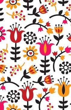 Retro Scandinavian Flowers Pattern Art Print by Totallyjamie ...