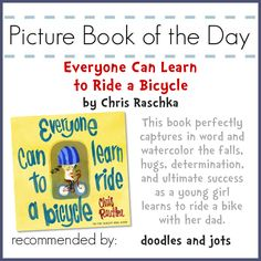 We recently got new bikes and celebrated my daughter learning how to ride. I love pairing up books with things that are going on in our lives. Here is a fun, fast read by one of my favorite author/illustrators about learning to ride and my first Picture Book of the Day! Click through to read more and get my Bicycle Craft Printable!