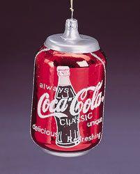 coca cola classic can ornament glass 4 tall 795