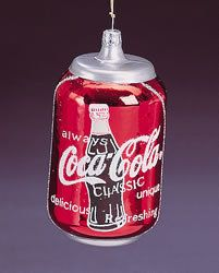 "Coca-Cola Classic Can Ornament  Glass 4"" Tall $7.95"