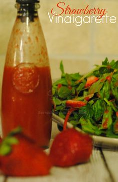 Strawberry Vinaigarette Salad Dressing Recipe #DressingItUp - Serendipity and Spice
