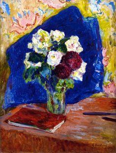 The Athenaeum - VUILLARD, Édouard French Nabi,Post-Impressionist (1868-1940)_Bouquet and Book- circa 1910