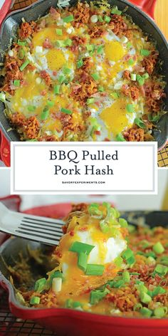 BBQ Pulled Pork Hash Recipe - The Best Breakfast Hash Recipe! - BBBQ Pulled Pork Hash is my hands down, favorite Sunday brunch recipe. Ready in only 15 minutes and easily modified, it is simple and tasty. Best Breakfast Recipes, Brunch Recipes, Drink Recipes, Dinner Recipes, Breakfast For Dinner, Breakfast Hash, Breakfast Ideas, Second Breakfast, Breakfast Time