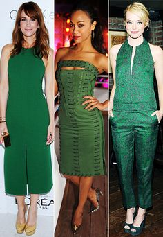Trend Alert: Kristen Wiig, Zoe Saldana, and Emma Stone dazzle in #Emerald, @PANTONE COLOR official #ColoroftheYear