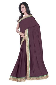 Brown Coffee Sarees @ 1199 Georget Sarees With Heavy Embroidary & Stonework Border